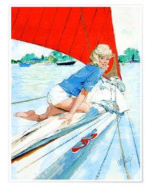 Poster  Blonde Pin Up on Sailboat - Al Buell