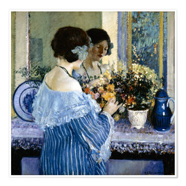Poster Girl in Blue arranging flowers
