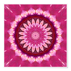 Poster  Mandala pinkblossom with flower of life - Christine Bässler