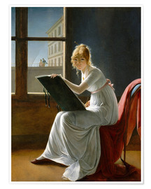 Poster  Young Woman Drawing - Marie-Denise Villers