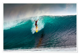 Poster  Extreme surfing huge wave - Mentawai Islands - Paul Kennedy