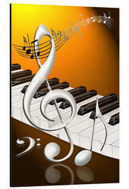 Alu-Dibond  dancing notes with clef and piano keyboard - Kalle60
