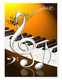 Poster  dancing notes with clef and piano keyboard - Kalle60