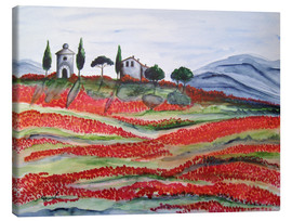 Tableau sur toile  Flowering/Blooming Tuscany (Val d'Orcia, Chapel of Vitaleta) - Christine Huwer