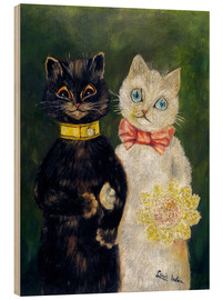 Tableau en bois  Cats Wedding - Louis Wain