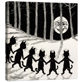 Toile  Cats at full moon - Louis Wain