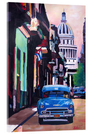Tableau en verre acrylique  Cuban Oldtimer Street Scene in Havanna Cuba with Buena Vista Feeling - M. Bleichner