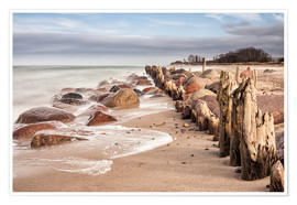 Poster Groyne and stones on shore of the Baltic Sea
