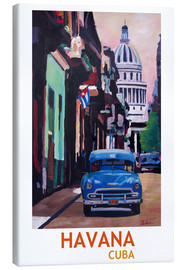 Toile  Cuban Oldtimer Street Scene in Havana Cuba with Buena Vista Feeling Poster - M. Bleichner