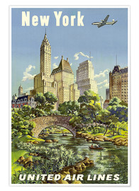 Poster  New York United Airlines - Travel Collection