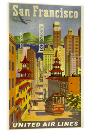 Tableau en verre acrylique  San Francisco United Airlines - Travel Collection