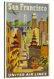 Tableau en aluminium  San Francisco United Airlines - Travel Collection