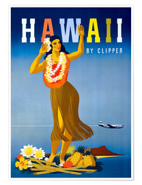 Poster  Hawaii by Clipper vintage travel - Travel Collection
