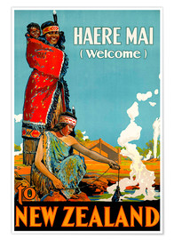 Poster  Haere Mai welcome to New Zealand