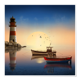 Poster  The morning peace at the lighthouse - Monika Jüngling