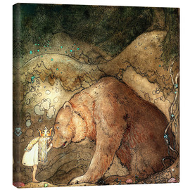 Toile  she kissed the bear on the nose - John Bauer