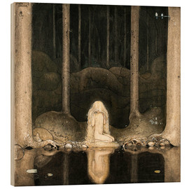 Bois  Princess Tuvstarr gazing down into the dark waters of the forest tarn - John Bauer