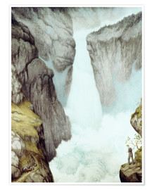 Poster  At the waterfall - Theodor Kittelsen