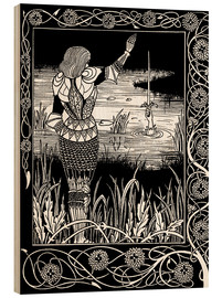 Tableau en bois  How Sir Bedivere Cast the Sword Excalibur into the Water - Aubrey Vincent Beardsley