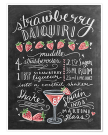 Poster Recette du Strawberry Daiquiri (anglais)