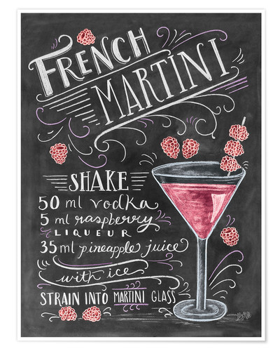 Poster Recette du French Martini Raspberry (anglais)