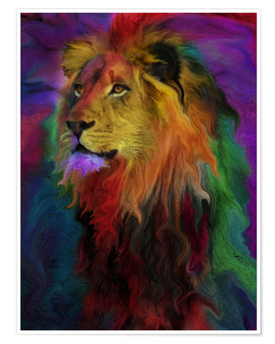 Poster Lion coloré