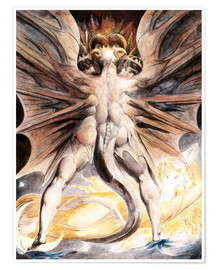 Poster  Le grand dragon rouge et la femme, habillés au soleil - William Blake