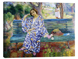 Toile  Young woman seated on a bench - Henri Lebasque