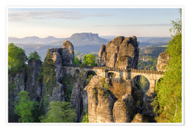 Poster  Bastei Bridge in Saxon Switzerland in the morning - Michael Valjak