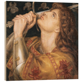 Tableau en bois  Knight with sword - Dante Charles Gabriel Rossetti