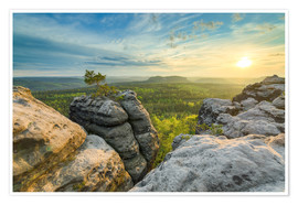 Poster  Sunset on Gohrisch in Saxon Switzerland - Michael Valjak