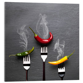Tableau en verre acrylique  steaming colorful chili peppers - pixelliebe