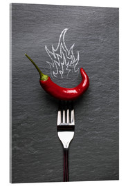 Tableau en verre acrylique  red chili peppers with fire - pixelliebe