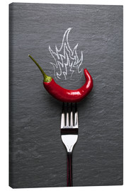 Tableau sur toile  red chili peppers with fire - pixelliebe