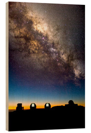 Tableau en bois  Mauna Kea telescopes and Milky Way - David Nunuk