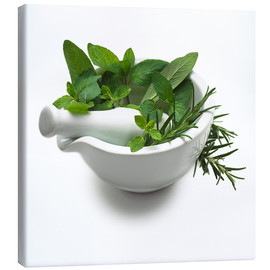 Toile  Herbs in a mortar