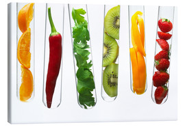 Toile  Fruit and vegetables in test tubes