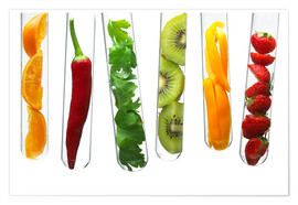 Poster  Fruit and vegetables in test tubes