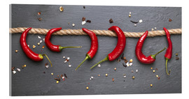 Tableau en verre acrylique  red hot chilli peppers with spice - pixelliebe