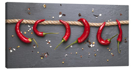 Tableau sur toile  red hot chilli peppers with spice - pixelliebe