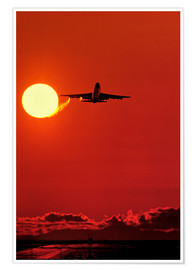 Poster Boeing 747 taking off at sunset