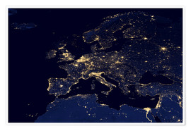 Poster  Photo satellite de l'Europe la nuit - NASA