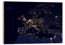 Tableau en bois  Photo satellite de l'Europe la nuit - NASA
