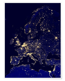 Poster  Europe at night - Nasa