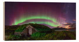 Tableau en bois  Auroral over Viking house, Greenland - Juan Carlos Casado