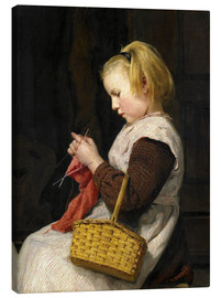 Tableau sur toile  Knitting Girl with basket - Albert Anker