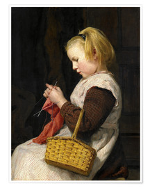 Poster Knitting Girl with basket