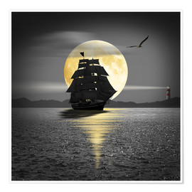 Poster A ship with black sails