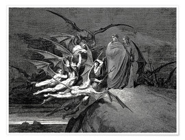 Poster  The Inferno, Canto 21  - Gustave Doré
