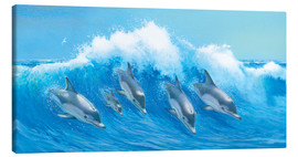 Tableau sur toile  Leaping Dolphins - John Butler